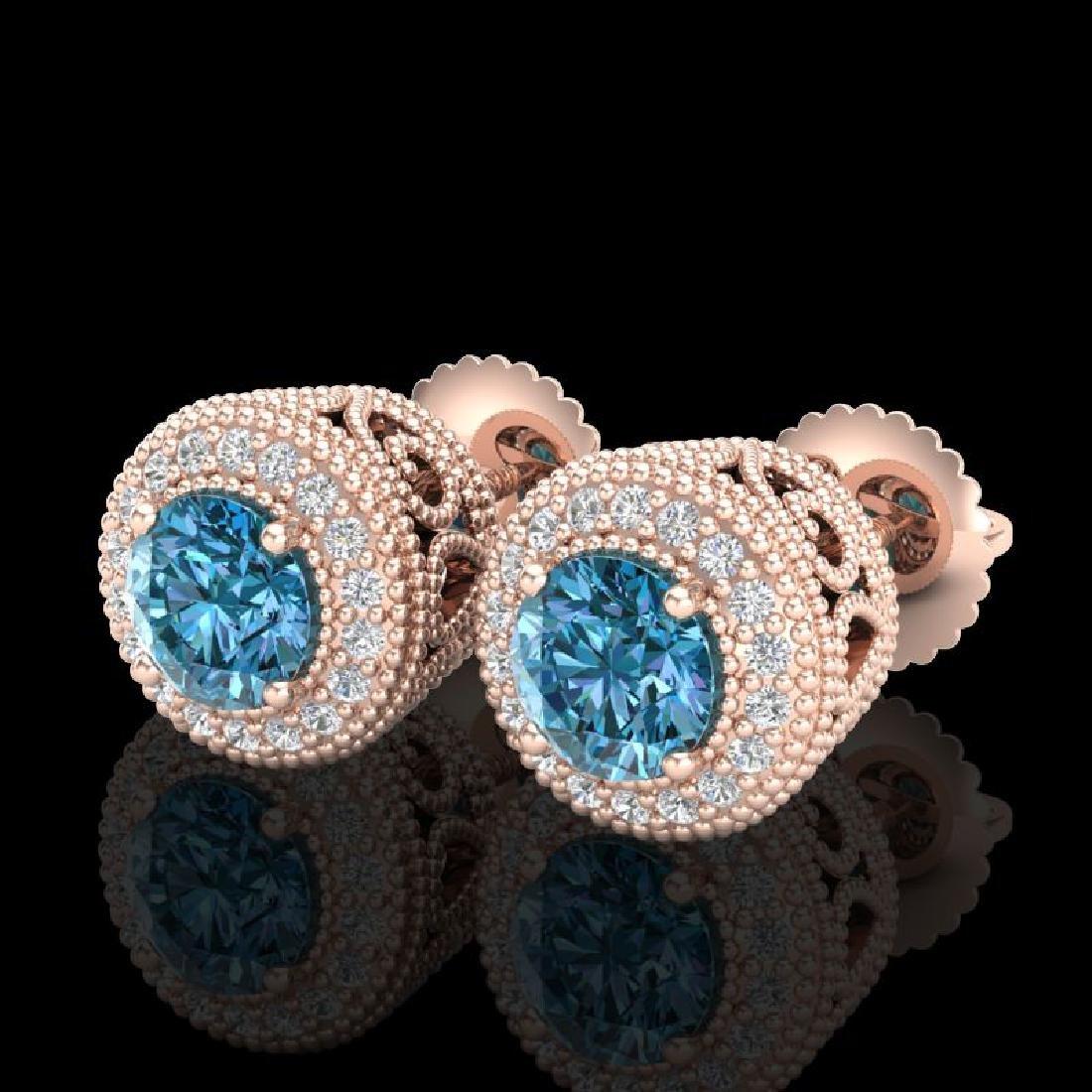 1.55 CTW Fancy Intense Blue Diamond Art Deco Stud