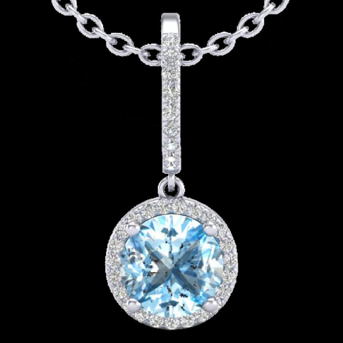 2.75 CTW Sky Blue Topaz & Micro Pave VS/SI Diamond - 2