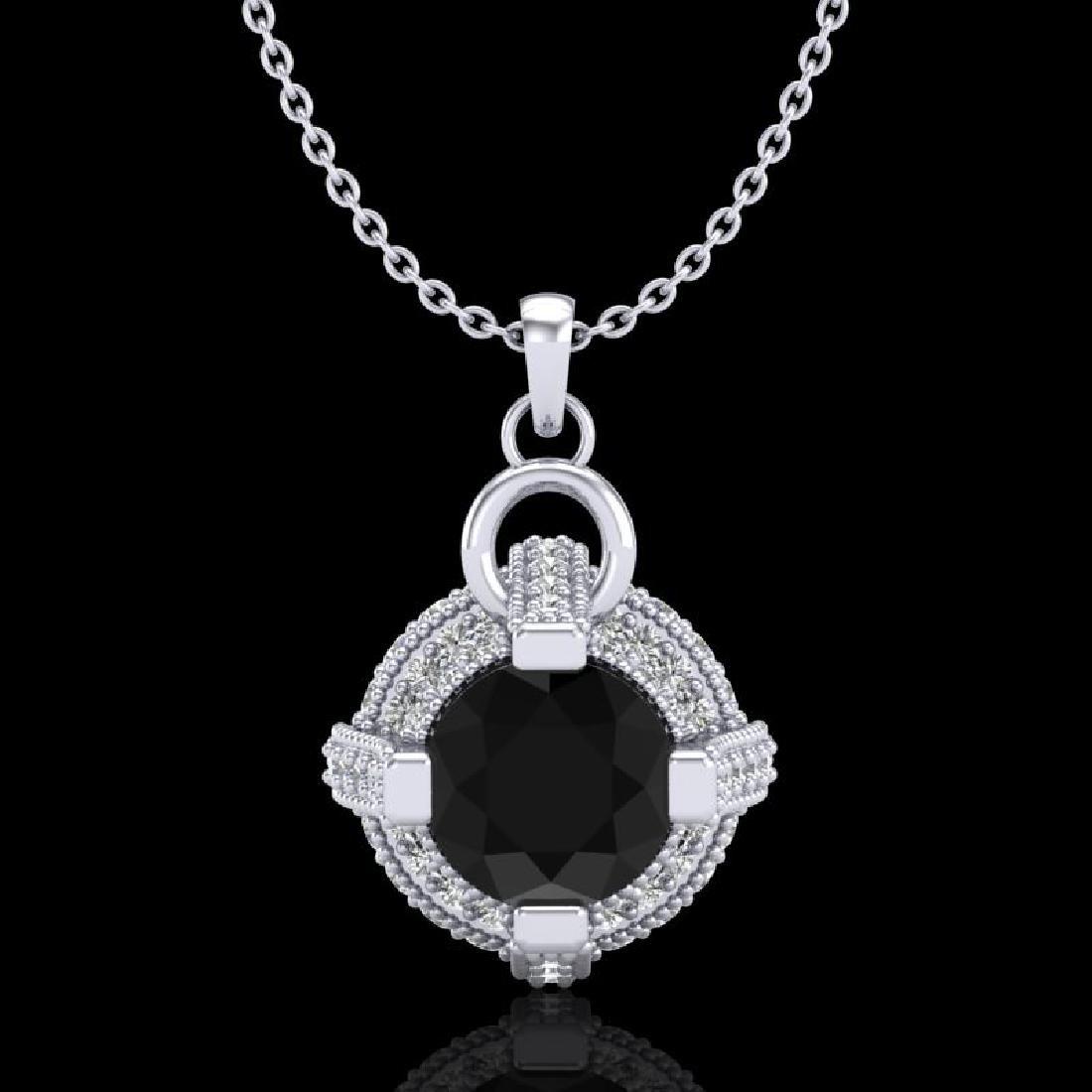 1.57 CTW Fancy Black Diamond Solitaire Micro Pave Stud