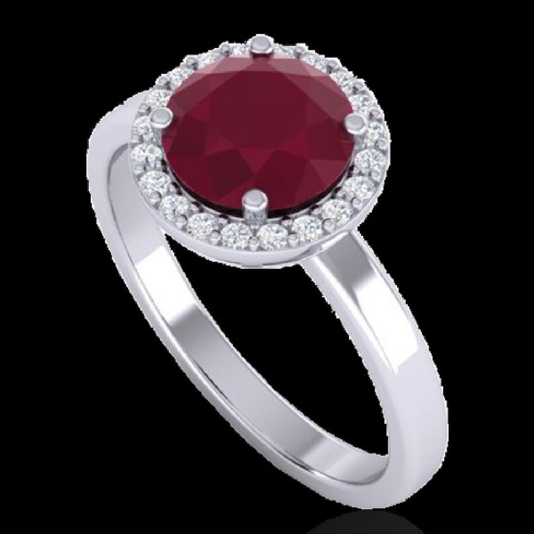 2 CTW Ruby & Halo VS/SI Diamond Micro Pave Ring - 2