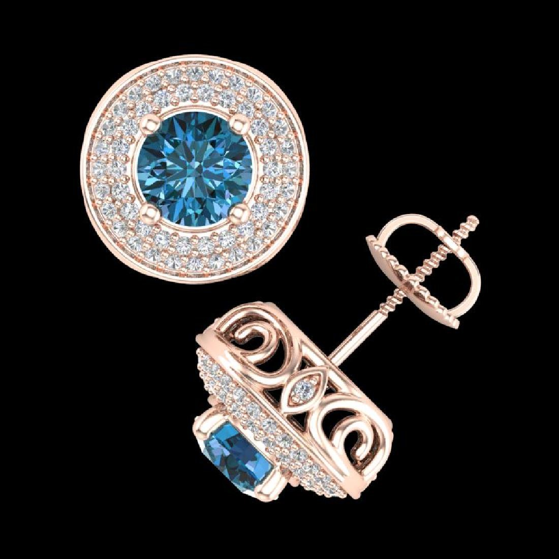 2.35 CTW Fancy Intense Blue Diamond Art Deco Stud - 3