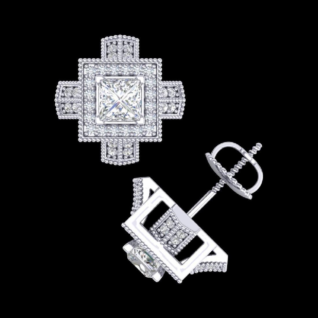 1.73 CTW Princess VS/SI Diamond Micro Pave Stud - 3