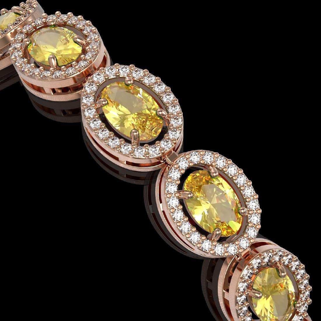 12.73 CTW Fancy Citrine & Diamond Halo Bracelet 10K - 3