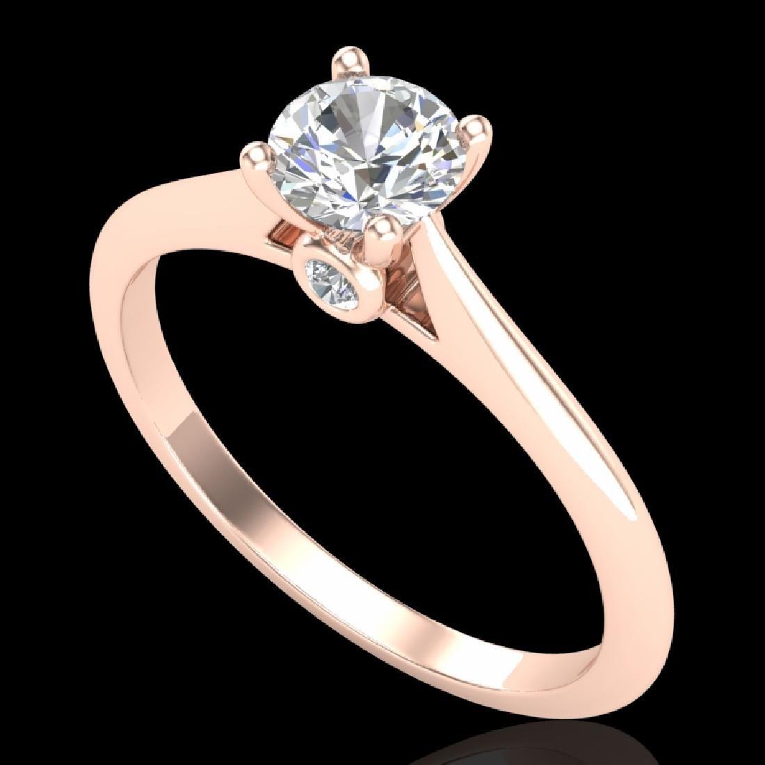 0.56 CTW VS/SI Diamond Solitaire Art Deco Ring 18K Rose