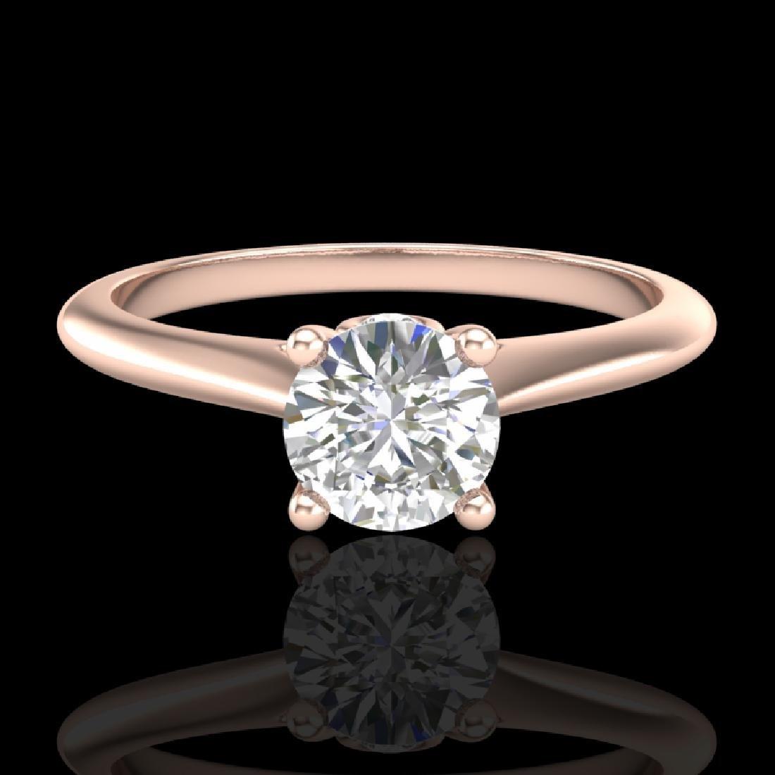 0.56 CTW VS/SI Diamond Solitaire Art Deco Ring 18K Rose - 2