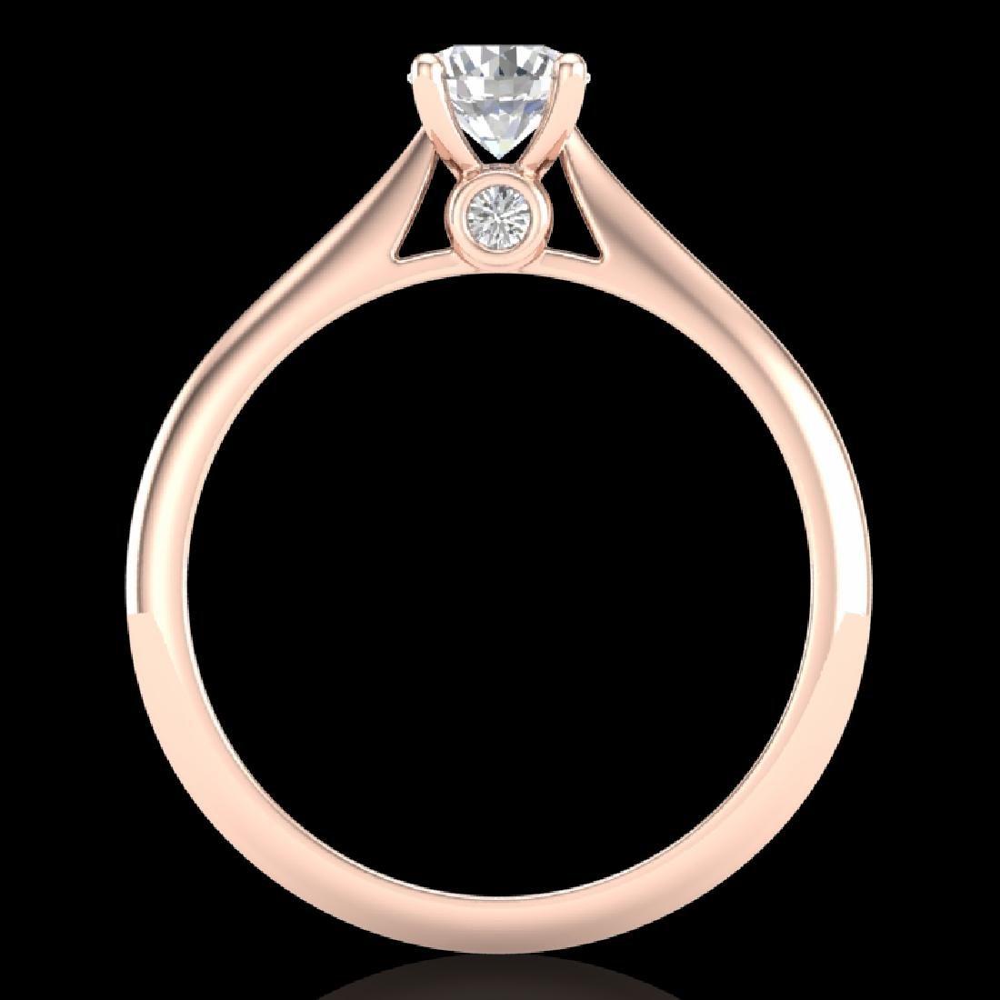 0.56 CTW VS/SI Diamond Solitaire Art Deco Ring 18K Rose - 3