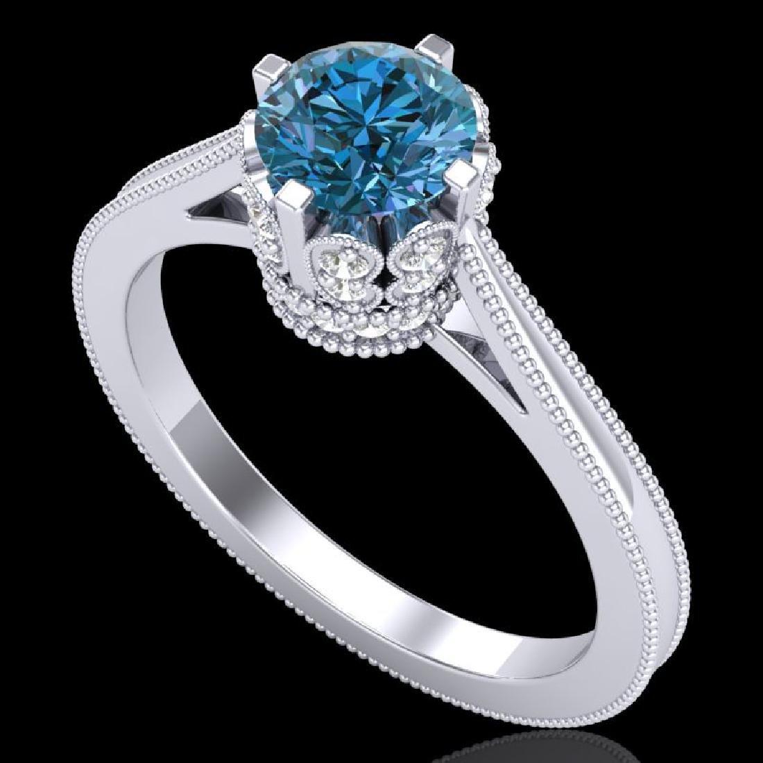 1.14 CTW Fancy Intense Blue Diamond Solitaire Art Deco