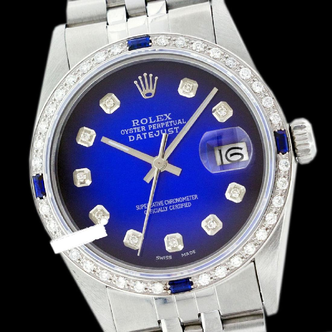 Rolex Ladies Stainless Steel, Diam Dial & Diam/Sapphire