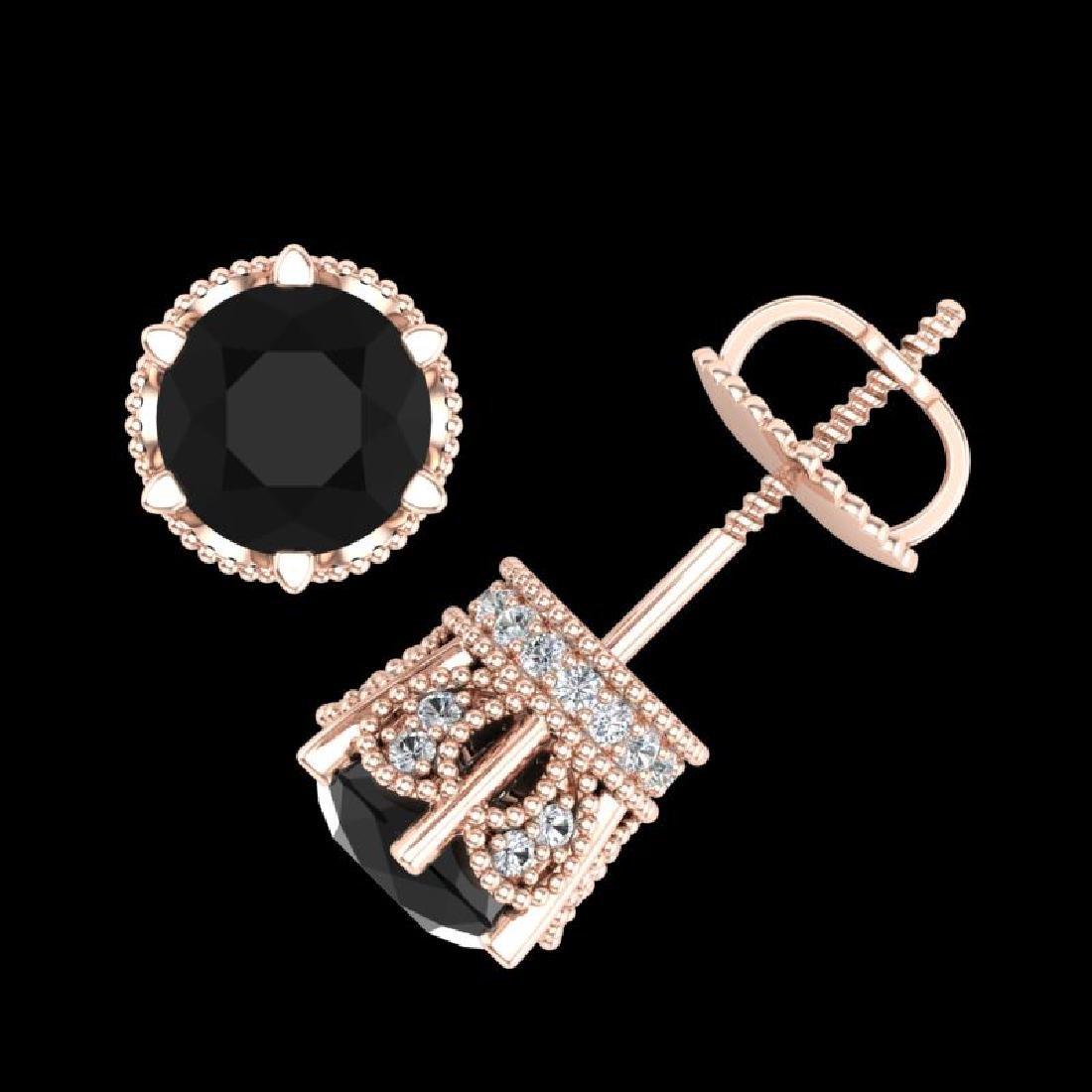 2.04 CTW Fancy Black Diamond Solitaire Art Deco Stud - 3