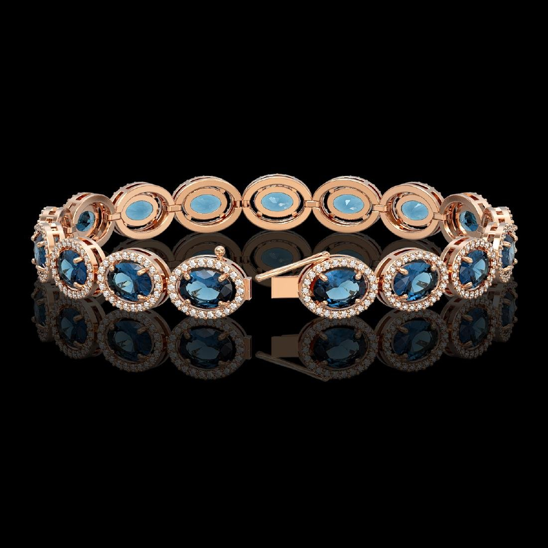 24.32 CTW London Topaz & Diamond Halo Bracelet 10K Rose