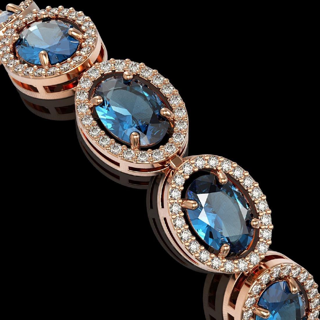 24.32 CTW London Topaz & Diamond Halo Bracelet 10K Rose - 2