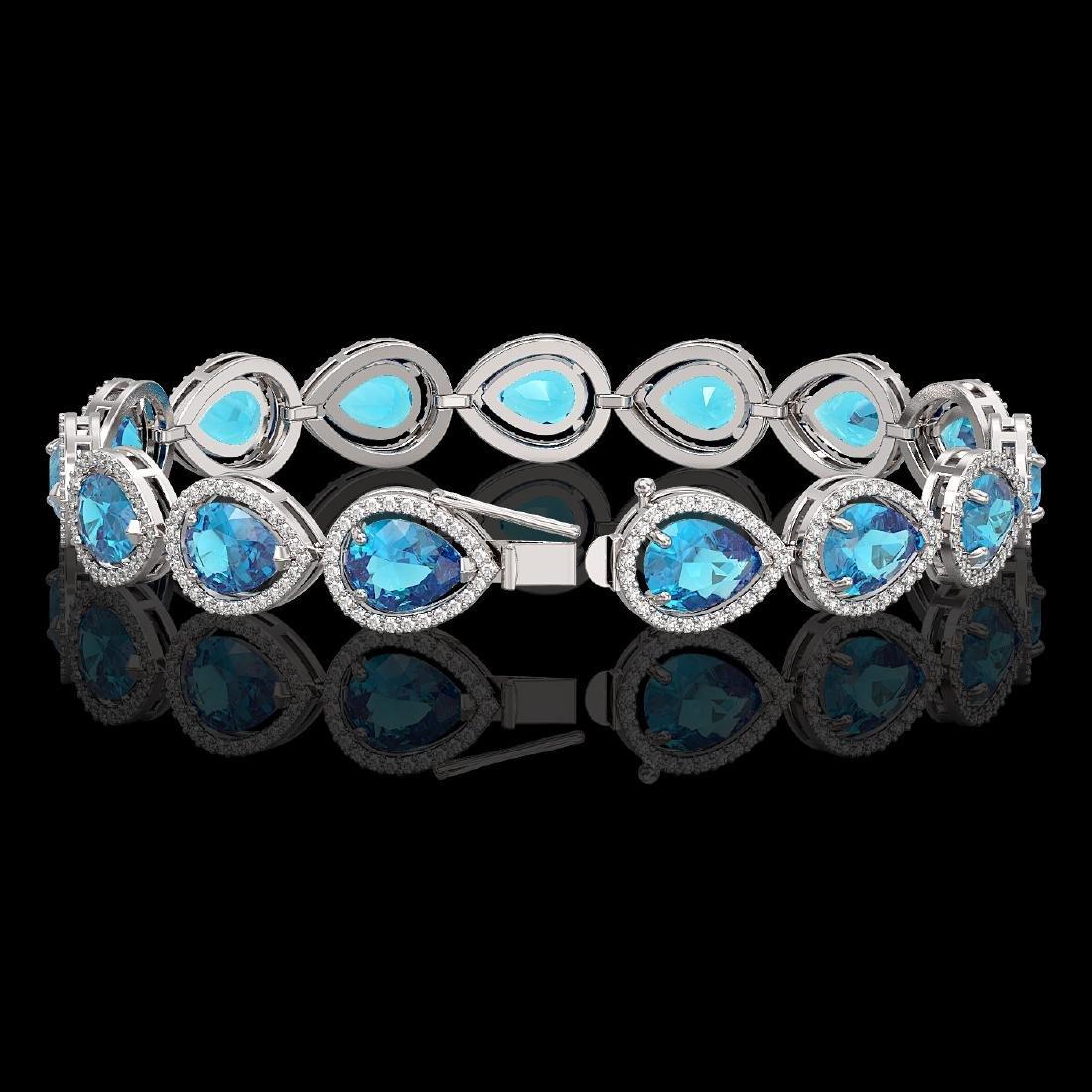 20.3 CTW Swiss Topaz & Diamond Halo Bracelet 10K White - 2