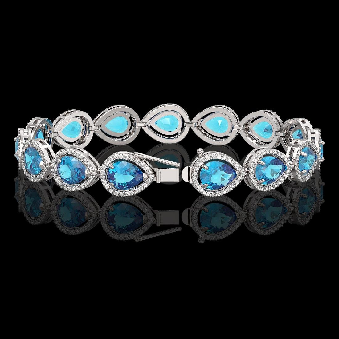 20.3 CTW Swiss Topaz & Diamond Halo Bracelet 10K White - 2