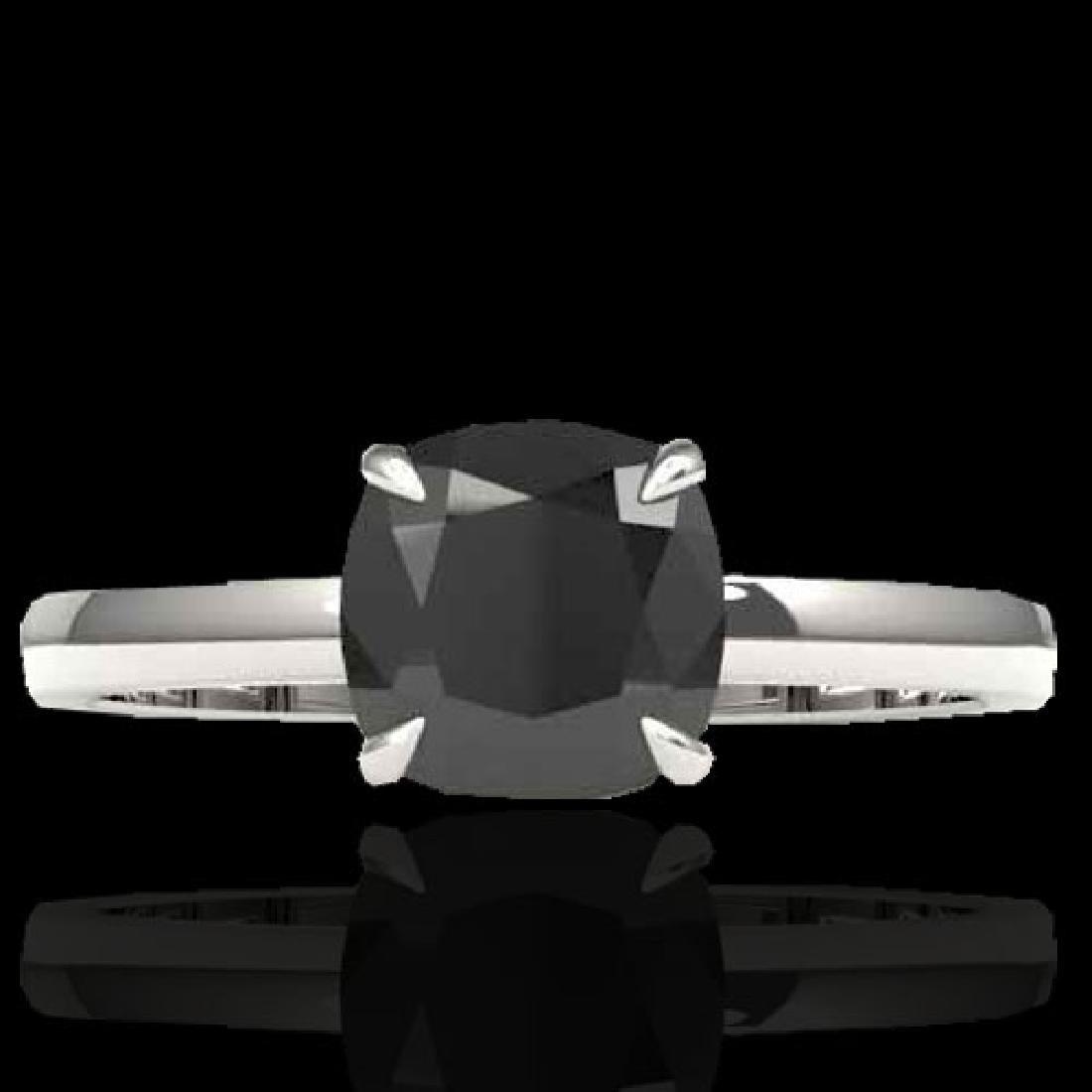 3 CTW Cushion Cut Black VS/SI Diamond Solitaire Ring