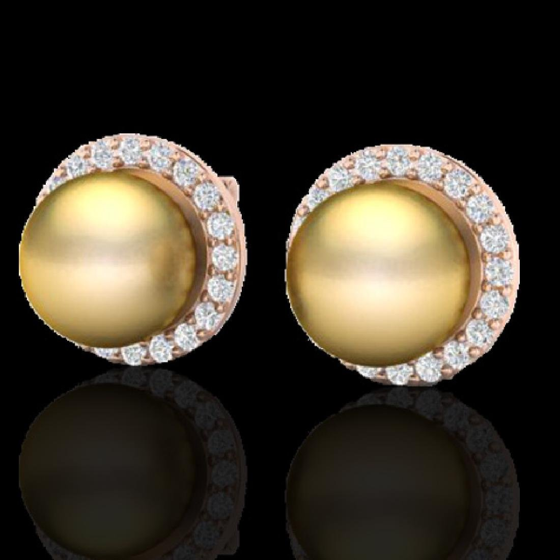 0.50 CTW Micro Pave Halo VS/SI Diamond & Golden Pearl