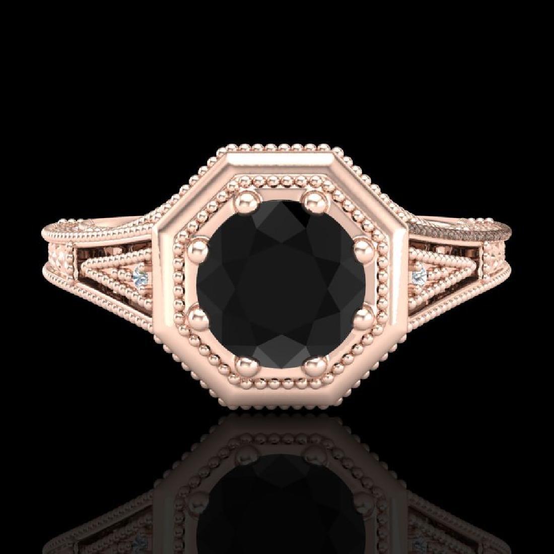 0.84 CTW Fancy Black Diamond Solitaire Engagement Art - 2