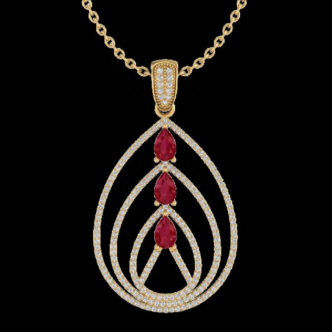 2 CTW Ruby & Micro Pave VS/SI Diamond Designer Necklace - 2