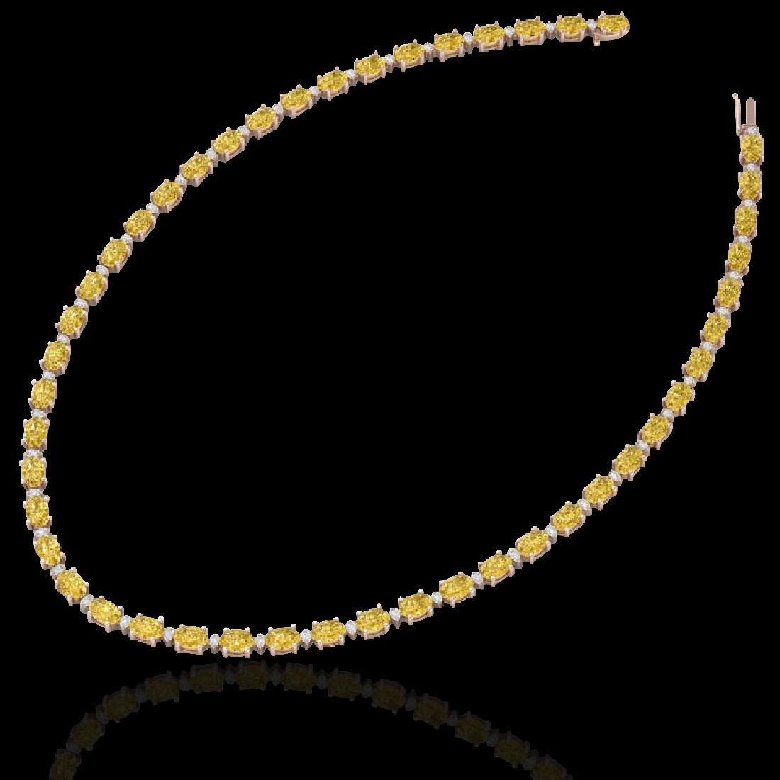 28 CTW Citrine & VS/SI Diamond Eternity Tennis Necklace - 2