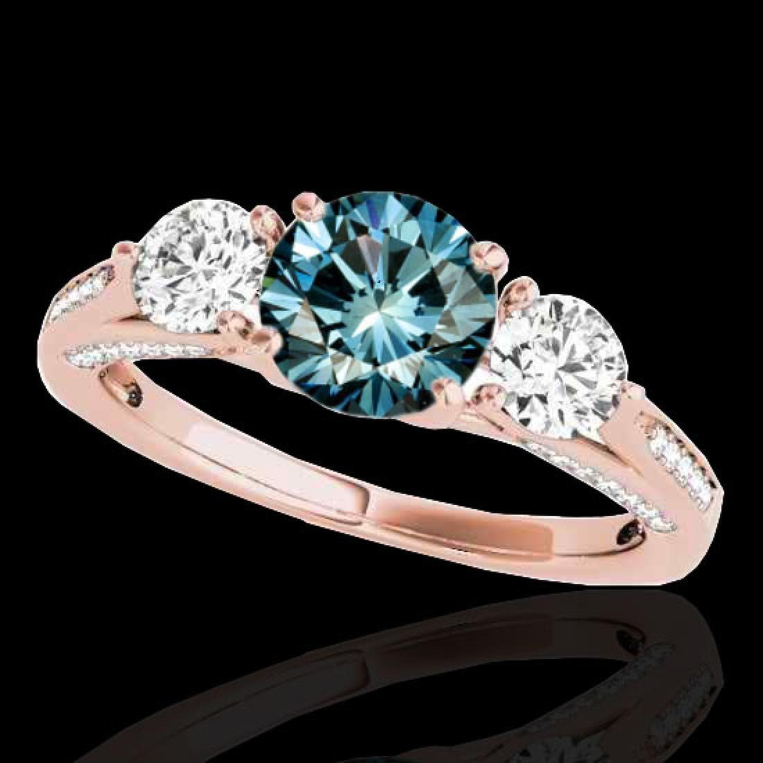 1.75 CTW SI Certified Fancy Blue Diamond 3 Stone Ring