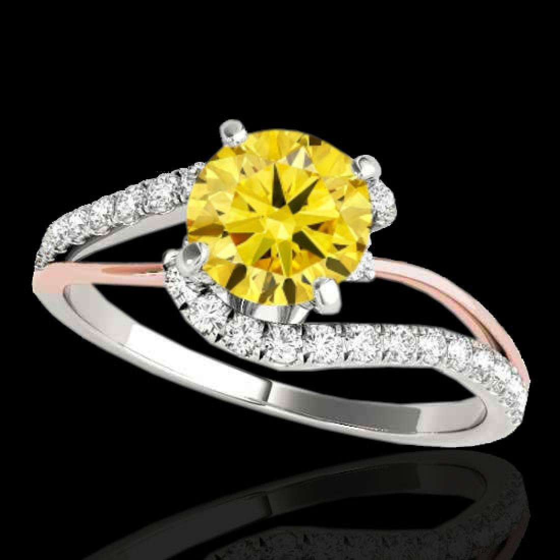 1.35 CTW Certified Si Fancy Diamond Bypass Solitaire