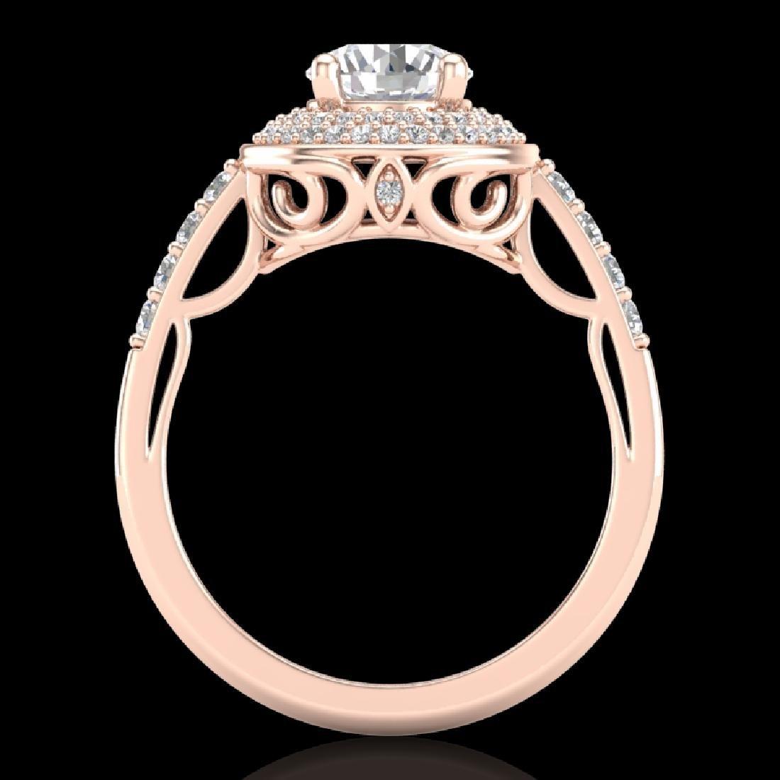 1.7 CTW VS/SI Diamond Solitaire Art Deco Ring 18K Rose