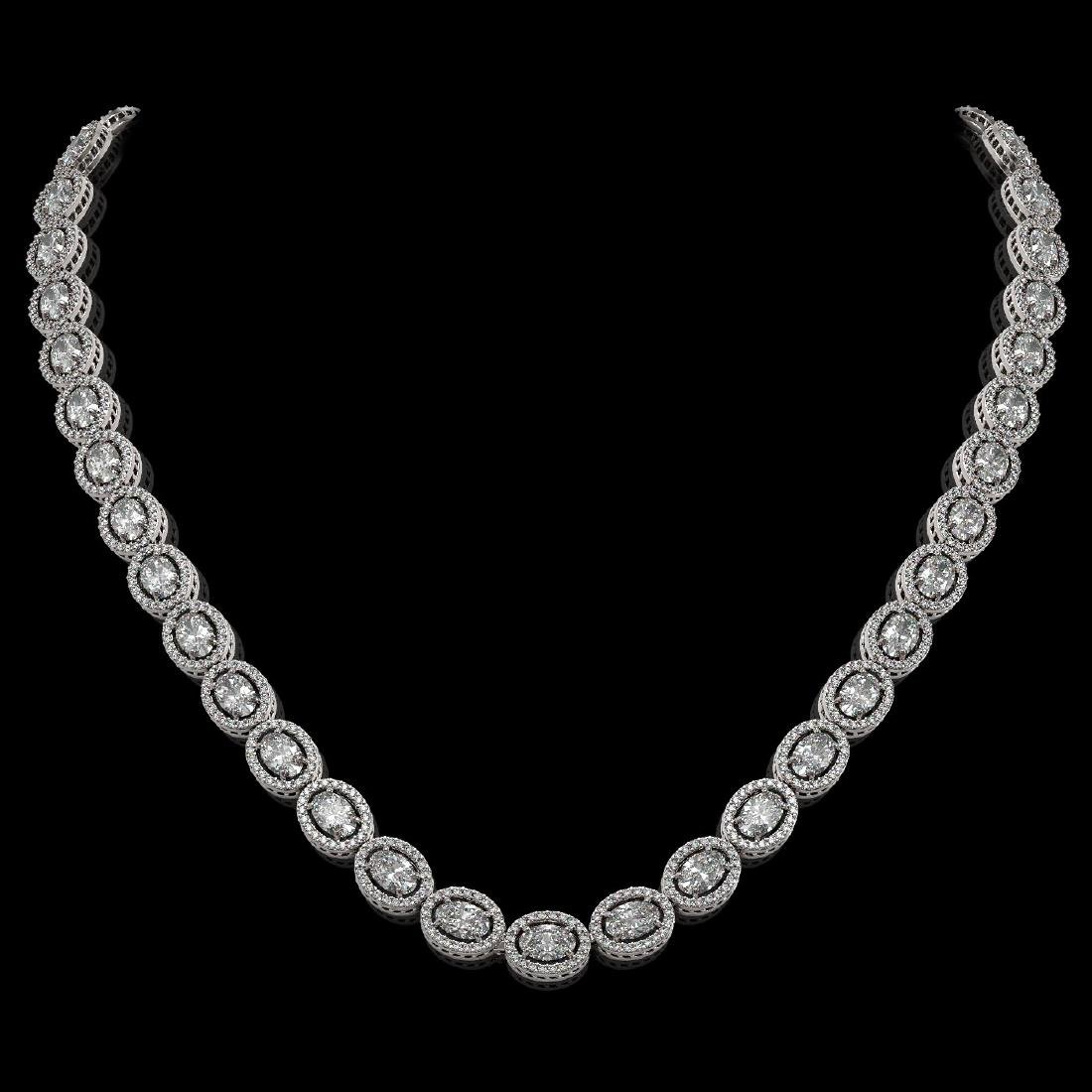 30.41 CTW Oval Diamond Designer Necklace 18K White Gold
