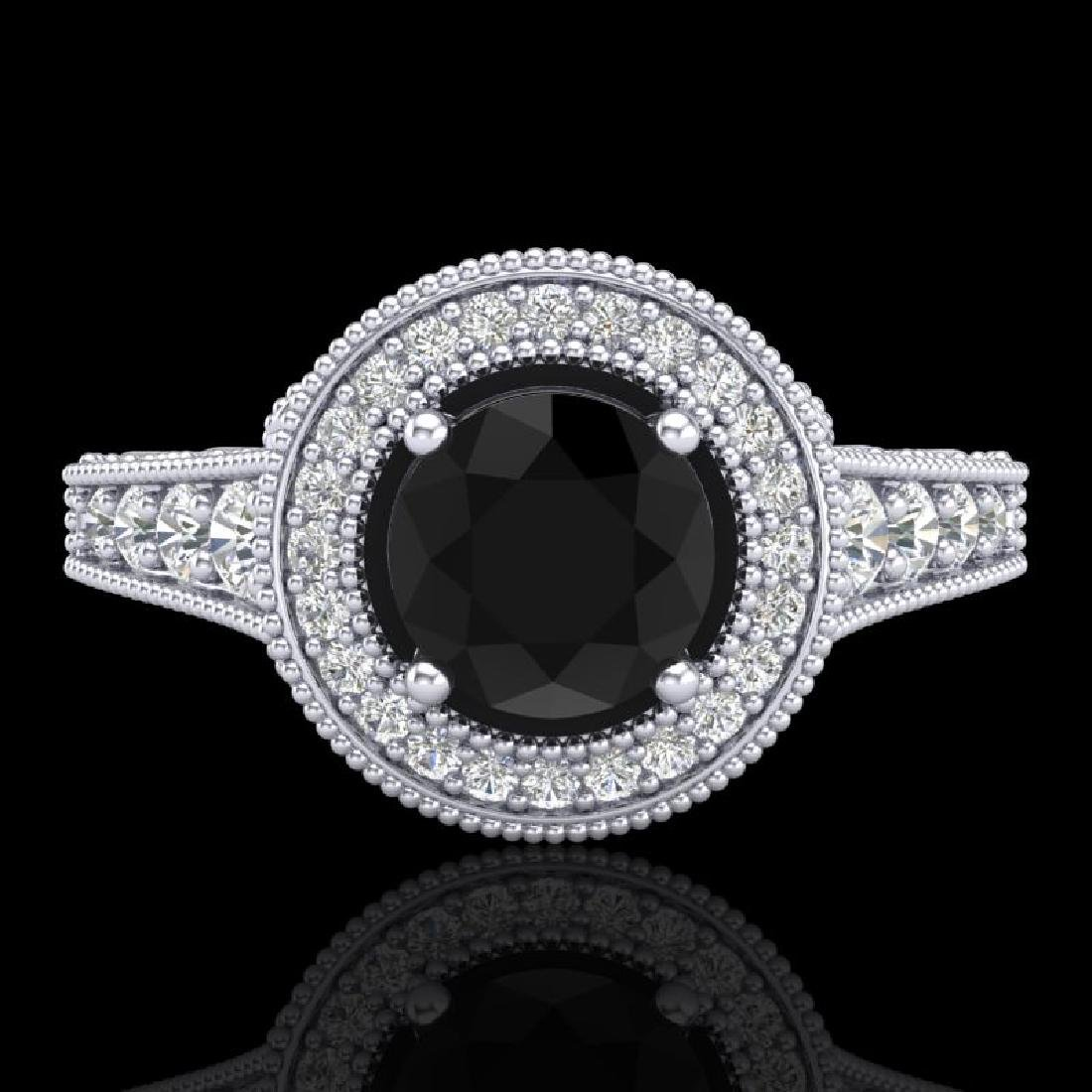 1.12 CTW Fancy Black Diamond Solitaire Engagement Art - 2
