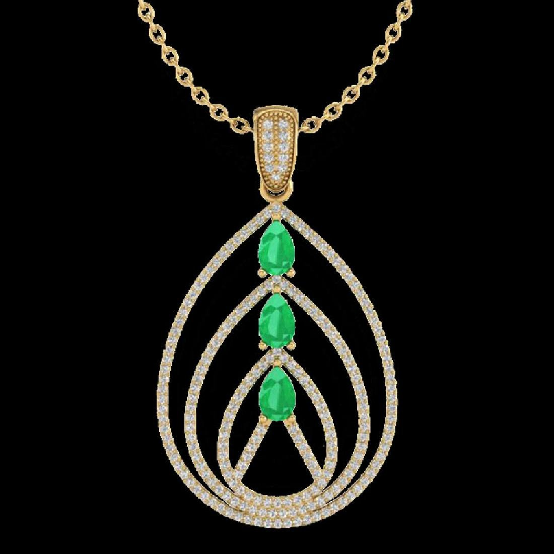 2 CTW Emerald & Micro Pave VS/SI Diamond Designer - 2