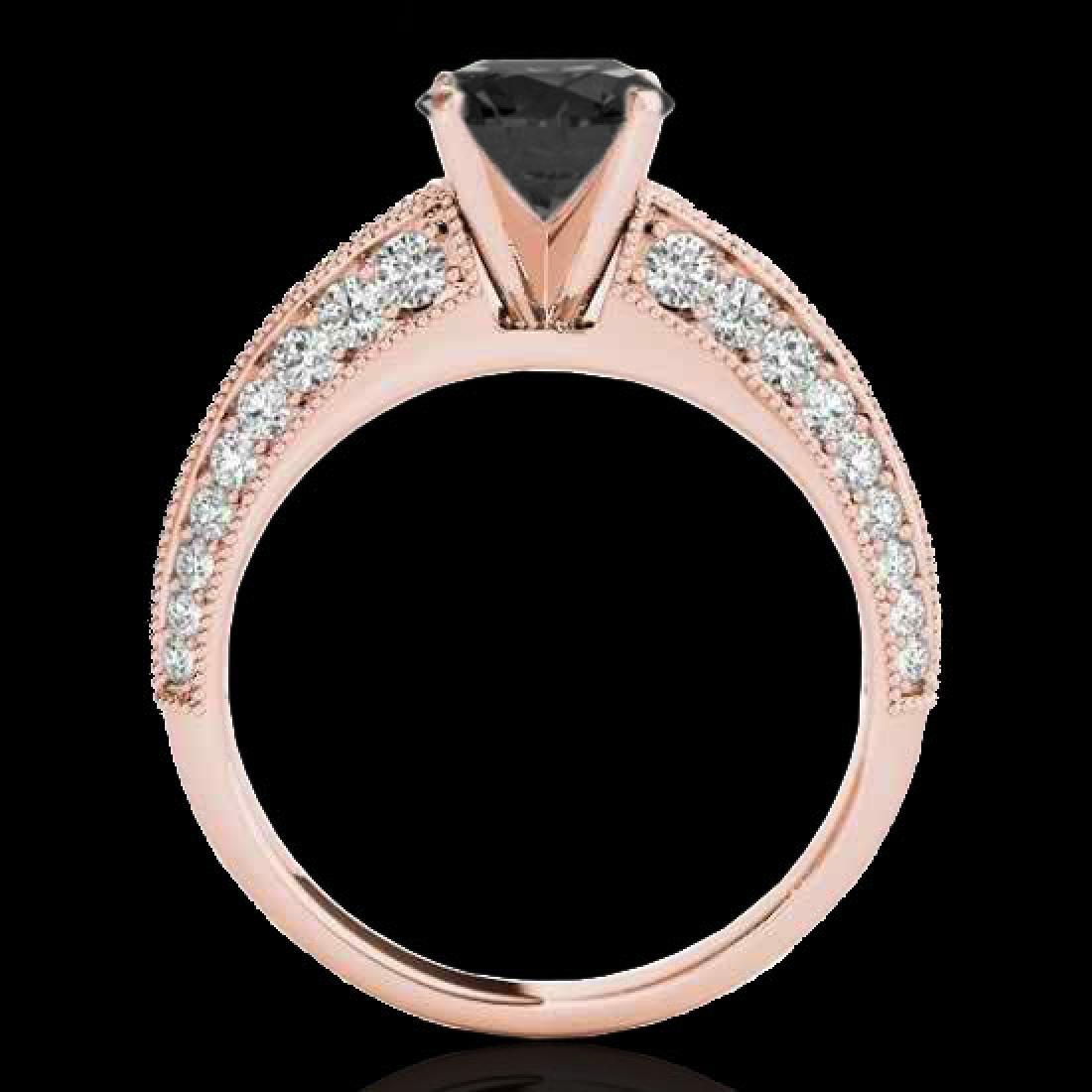 1.58 CTW Certified VS Black Diamond Solitaire Antique - 2