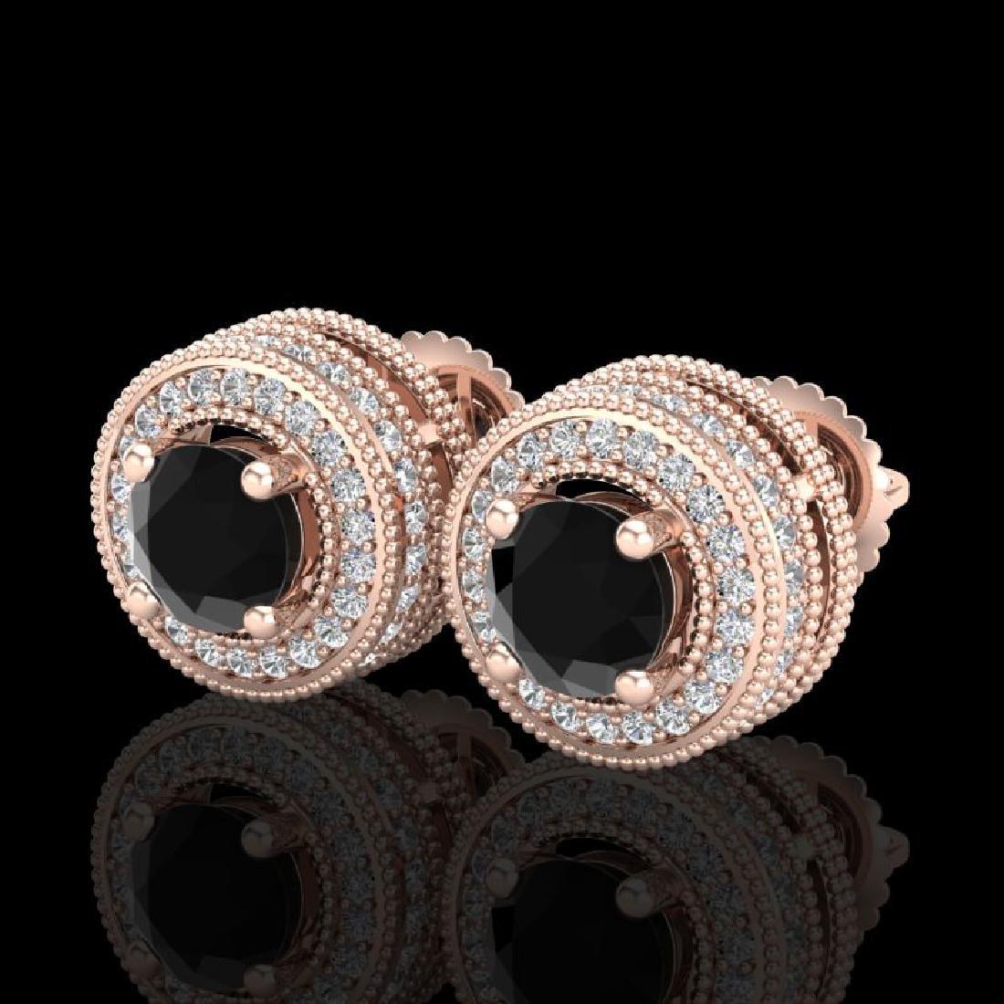 2.09 CTW Fancy Black Diamond Solitaire Art Deco Stud