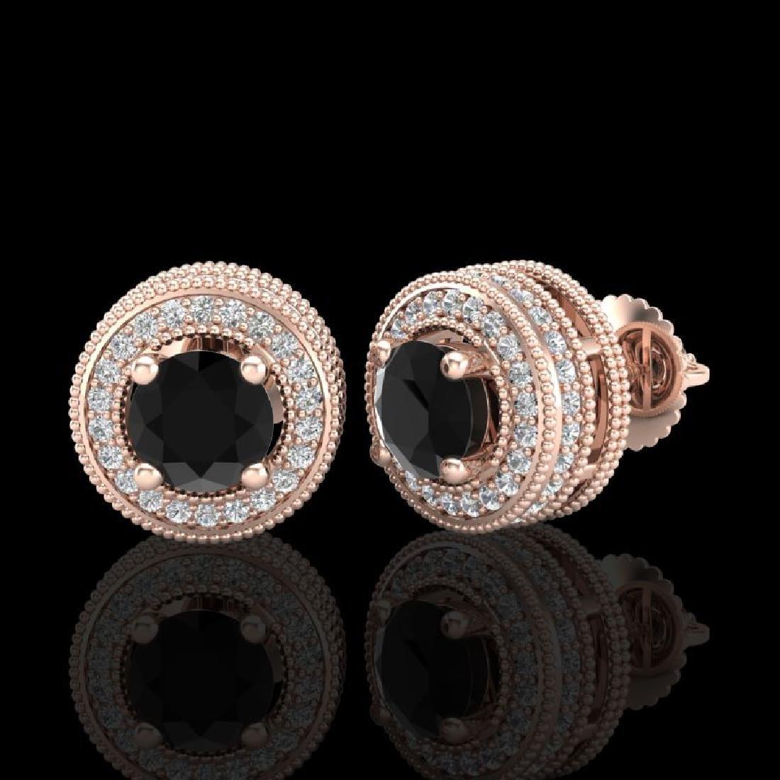 2.09 CTW Fancy Black Diamond Solitaire Art Deco Stud - 2