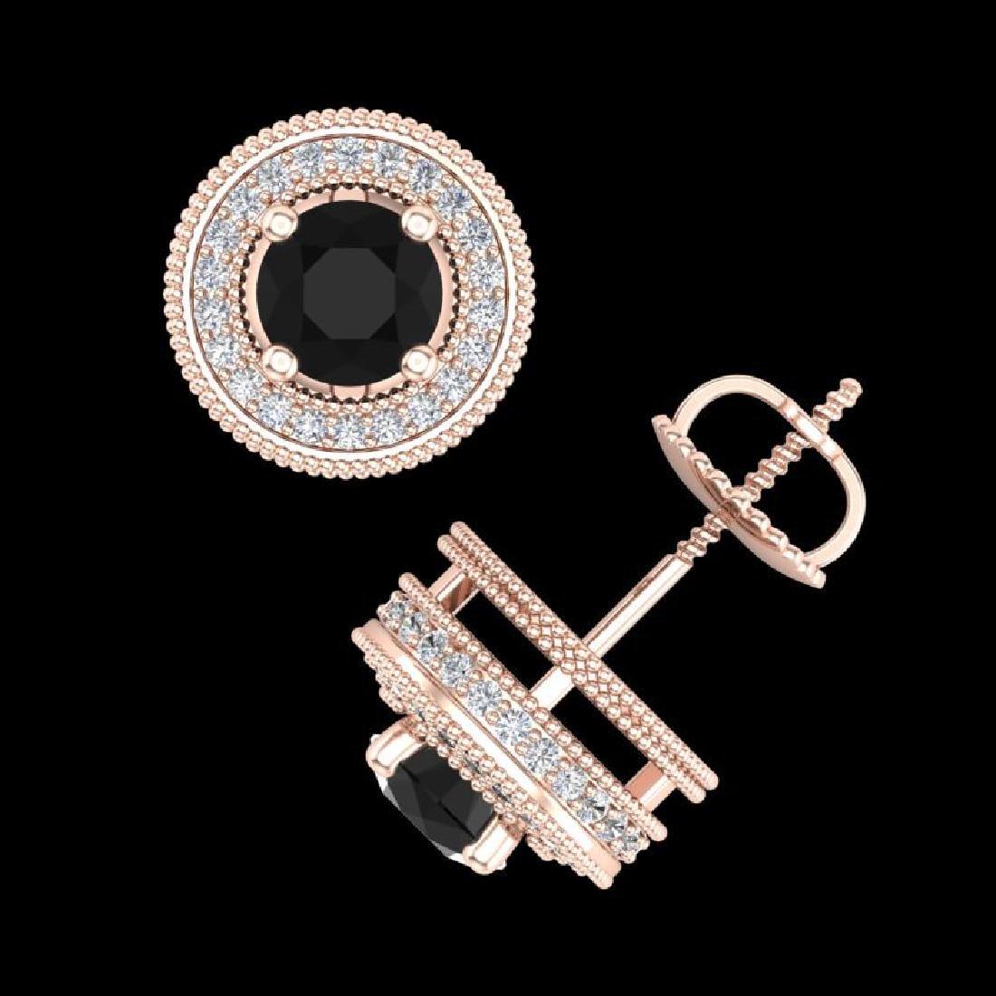 2.09 CTW Fancy Black Diamond Solitaire Art Deco Stud - 3