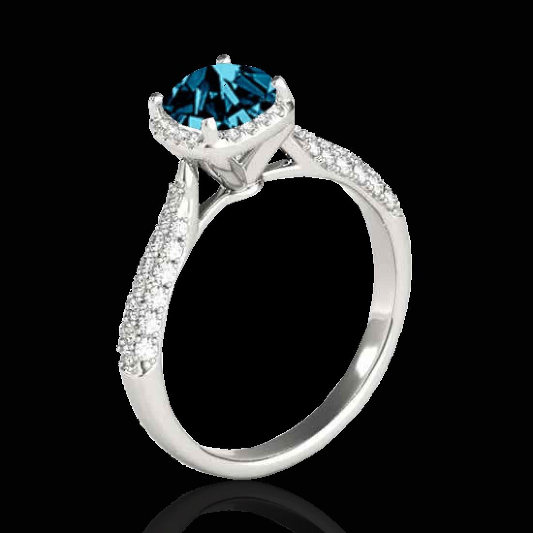 1.5 CTW SI Certified Fancy Blue Diamond Solitaire Halo - 2