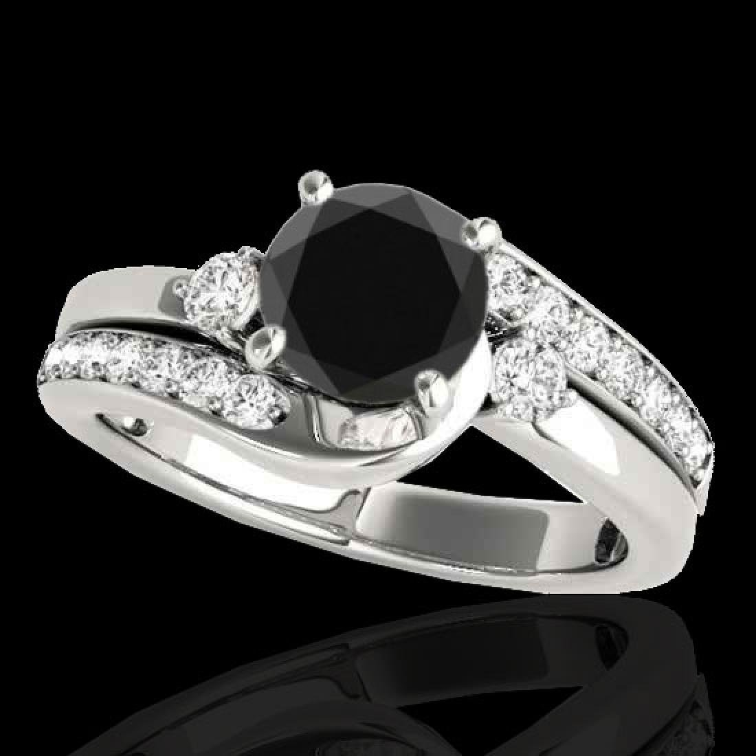 2 CTW Certified VS Black Diamond Bypass Solitaire Ring