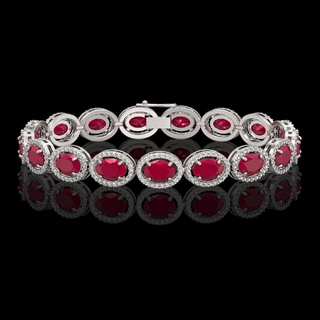 22.89 CTW Ruby & Diamond Halo Bracelet 10K White Gold