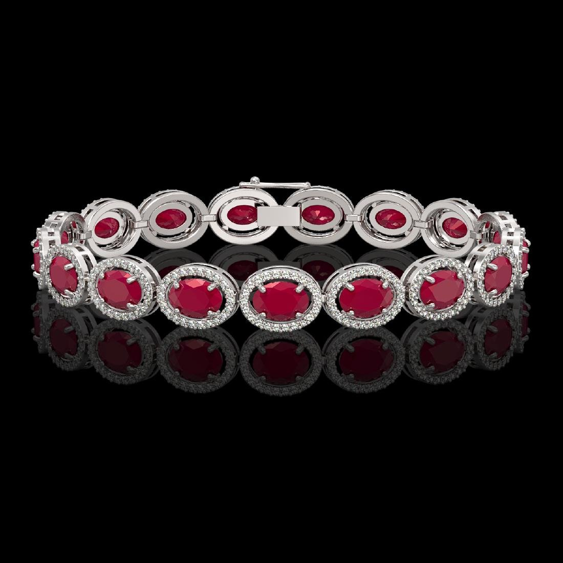 22.89 CTW Ruby & Diamond Halo Bracelet 10K White Gold