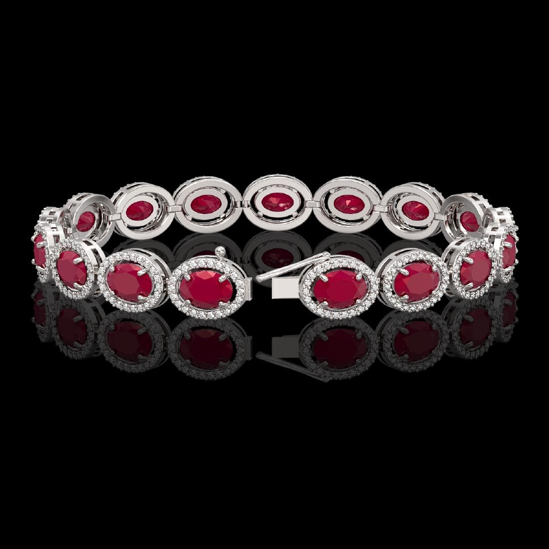 22.89 CTW Ruby & Diamond Halo Bracelet 10K White Gold - 2