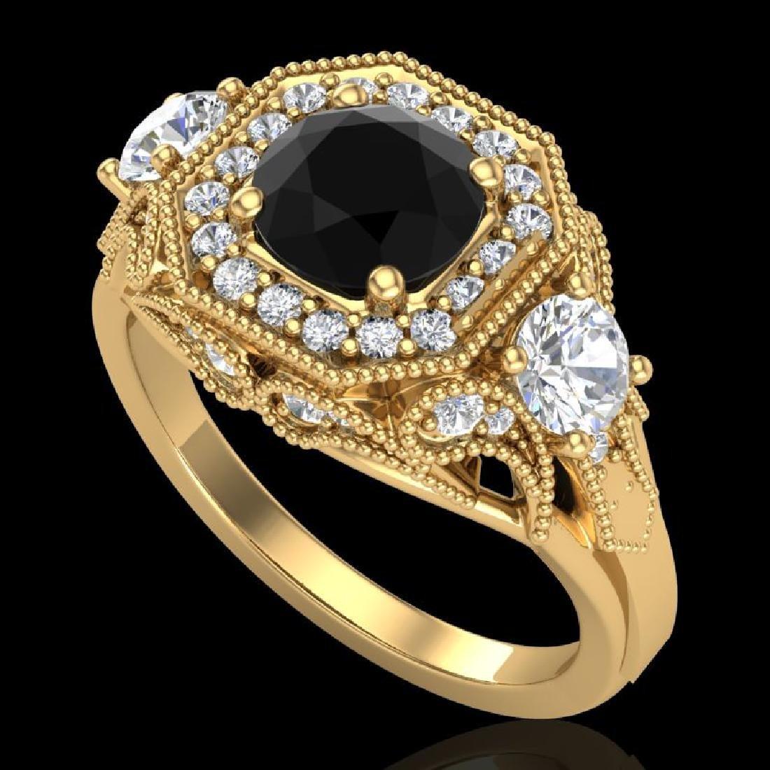 2.11 CTW Fancy Black Diamond Solitaire Art Deco 3 Stone
