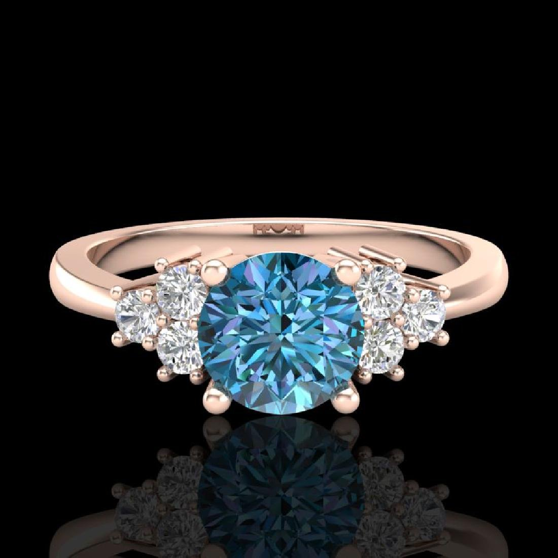 1 CTW Fancy Intense Blue Diamond Engagement Classic - 2