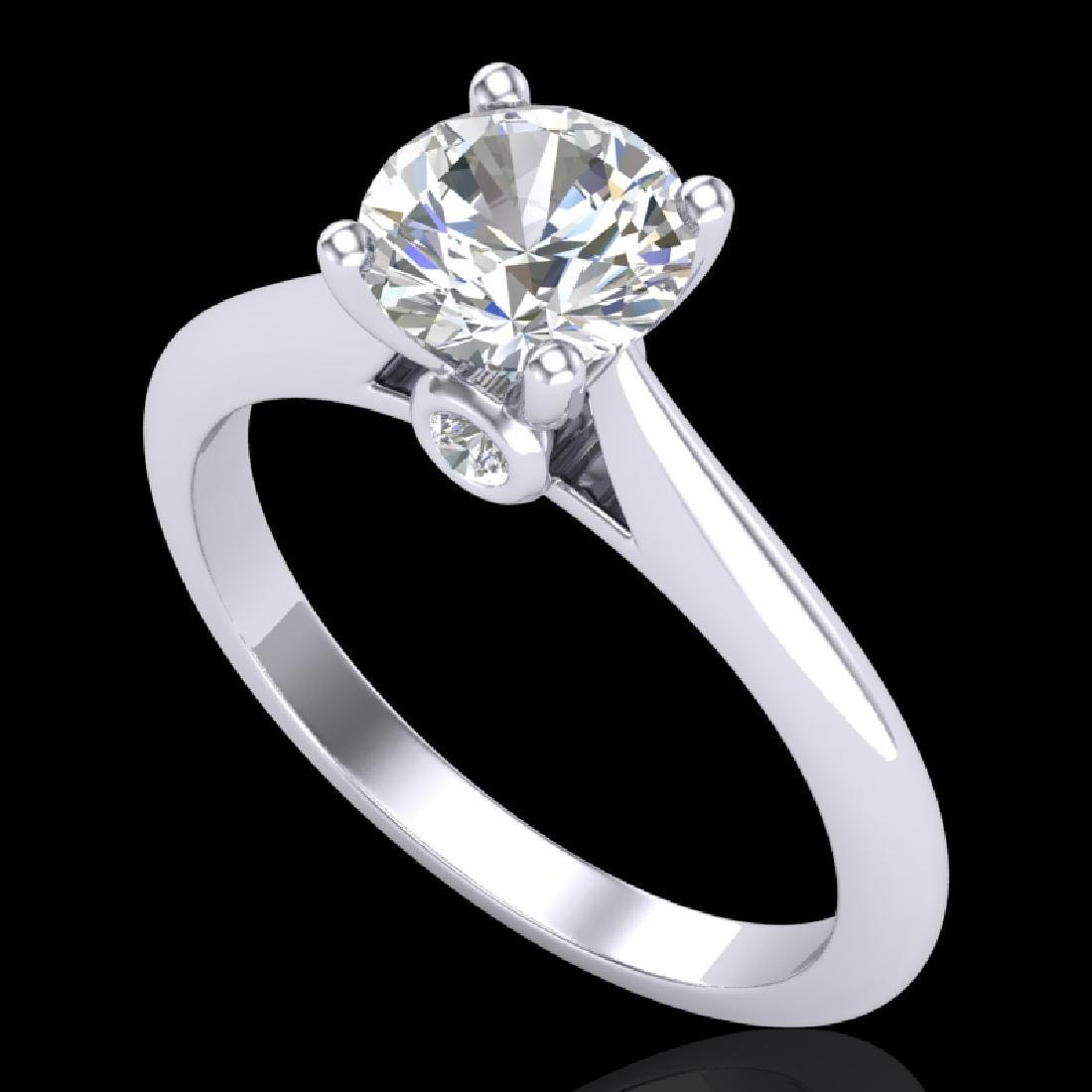 1.08 CTW VS/SI Diamond Solitaire Art Deco Ring 18K