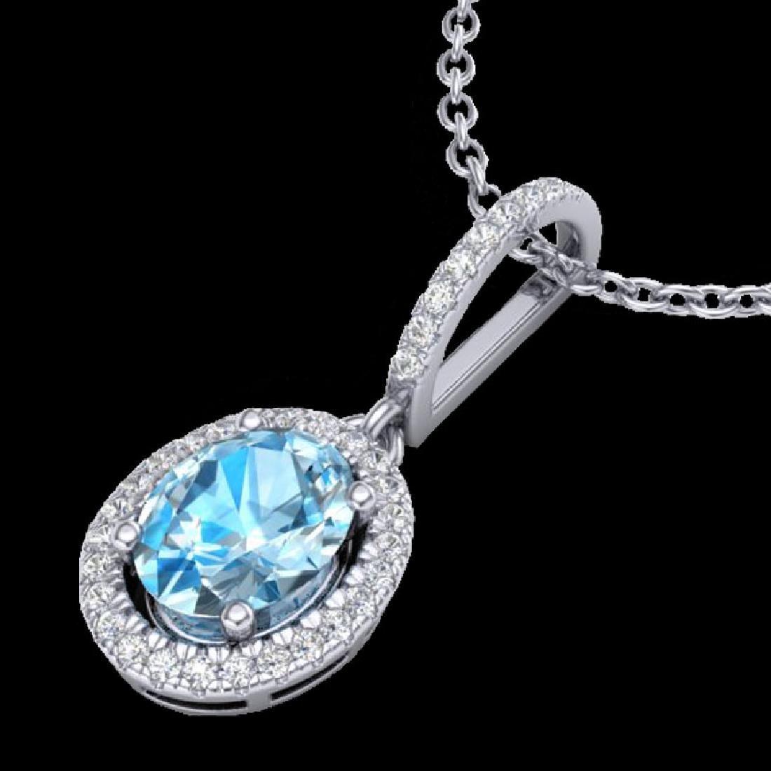 2 CTW Sky Blue Topaz & Micro VS/SI Diamond Necklace - 2