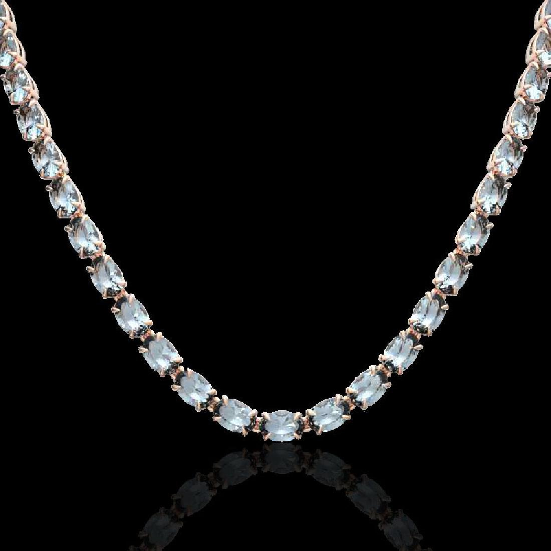 29 CTW Aquamarine Eternity Tennis Necklace 14K Rose - 2