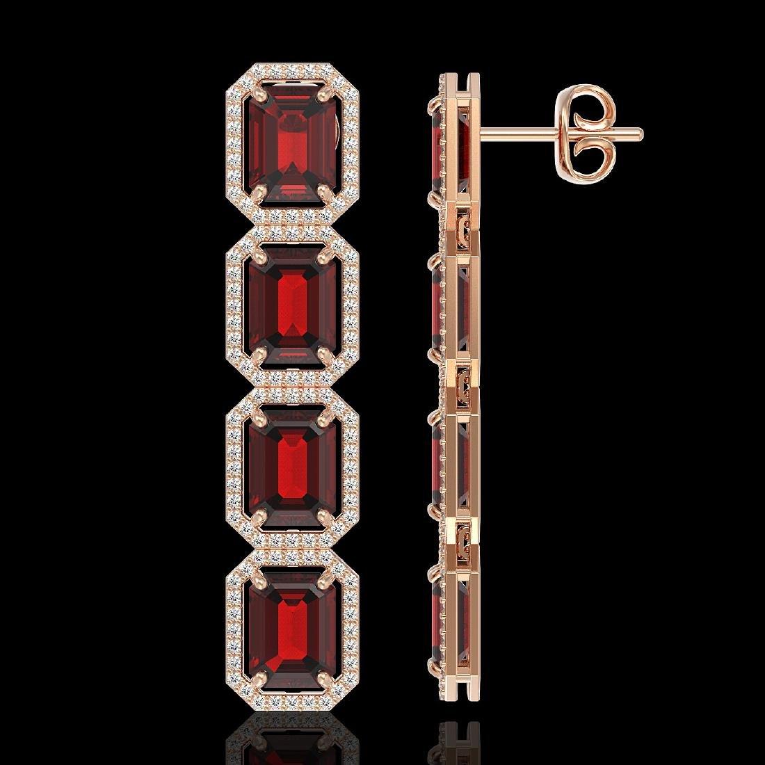 17.8 CTW Garnet & Diamond Halo Earrings 10K Rose Gold - 2