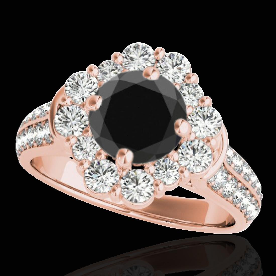 2.16 CTW Certified VS Black Diamond Solitaire Halo Ring