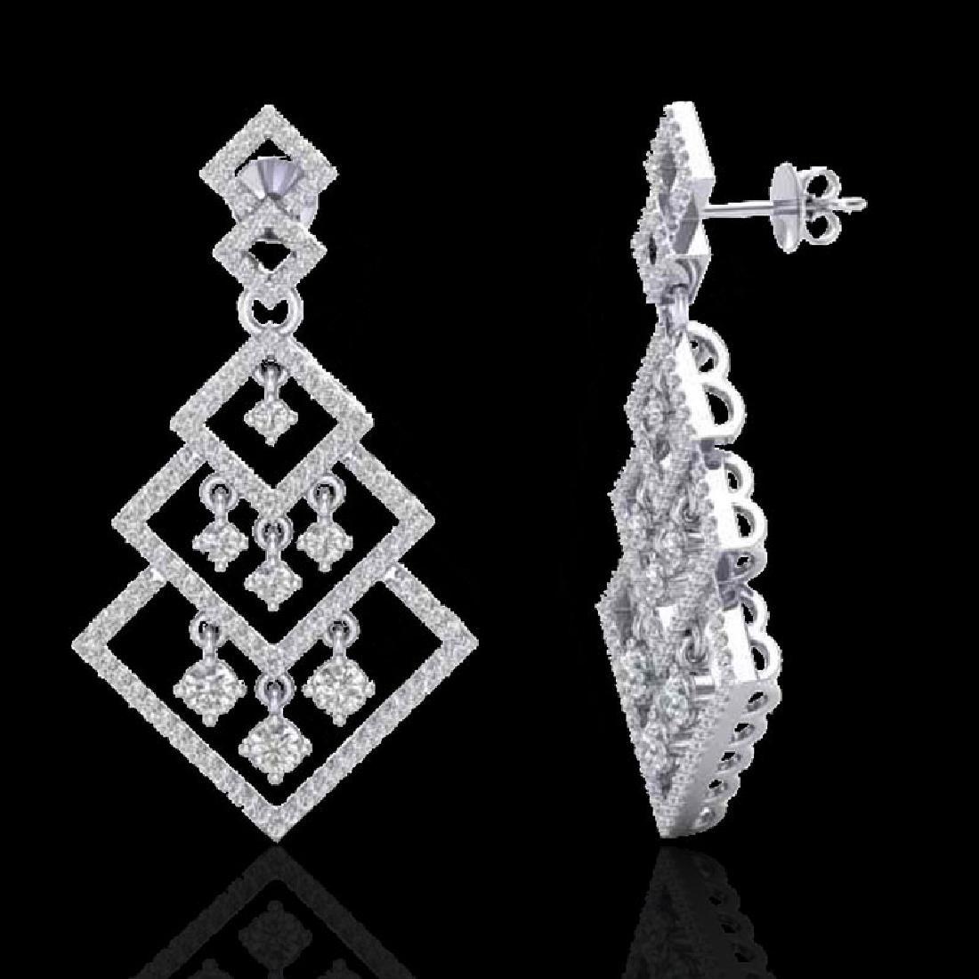 3 CTW Micro Pave VS/SI Diamond Earrings Dangling - 2