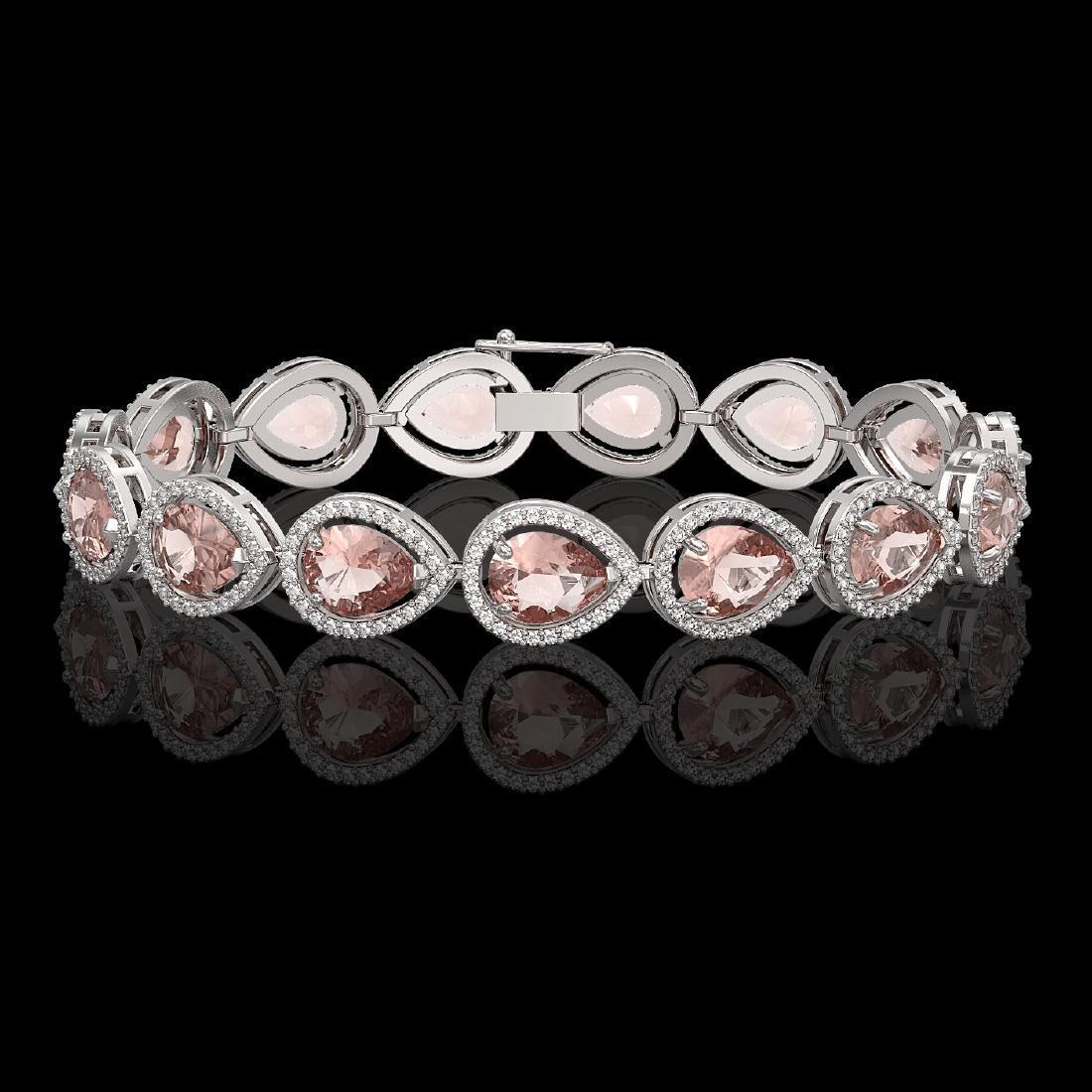 19.55 CTW Morganite & Diamond Halo Bracelet 10K White