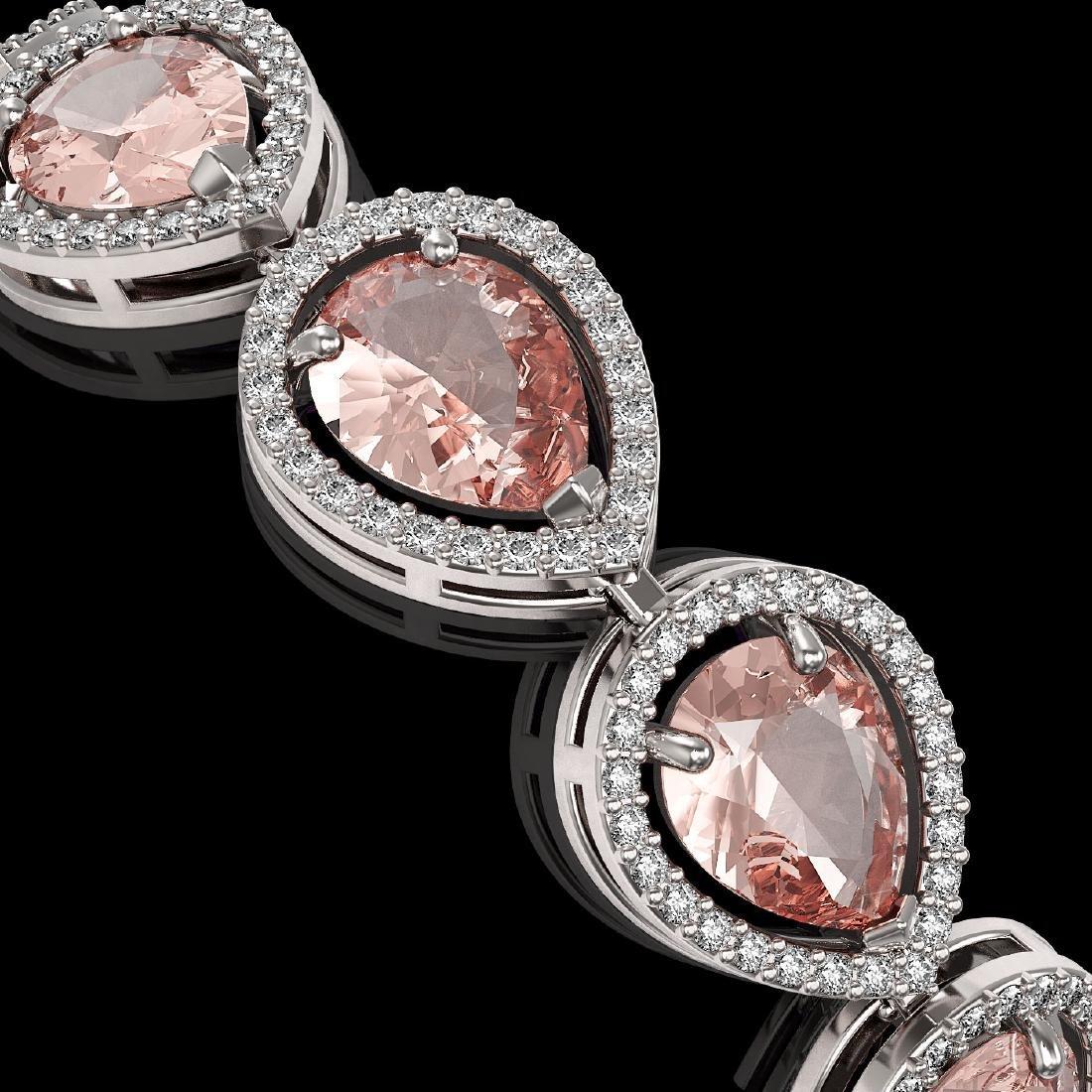 19.55 CTW Morganite & Diamond Halo Bracelet 10K White - 2