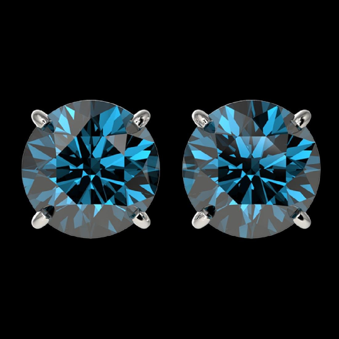 3 CTW Certified Intense Blue SI Diamond Solitaire Stud