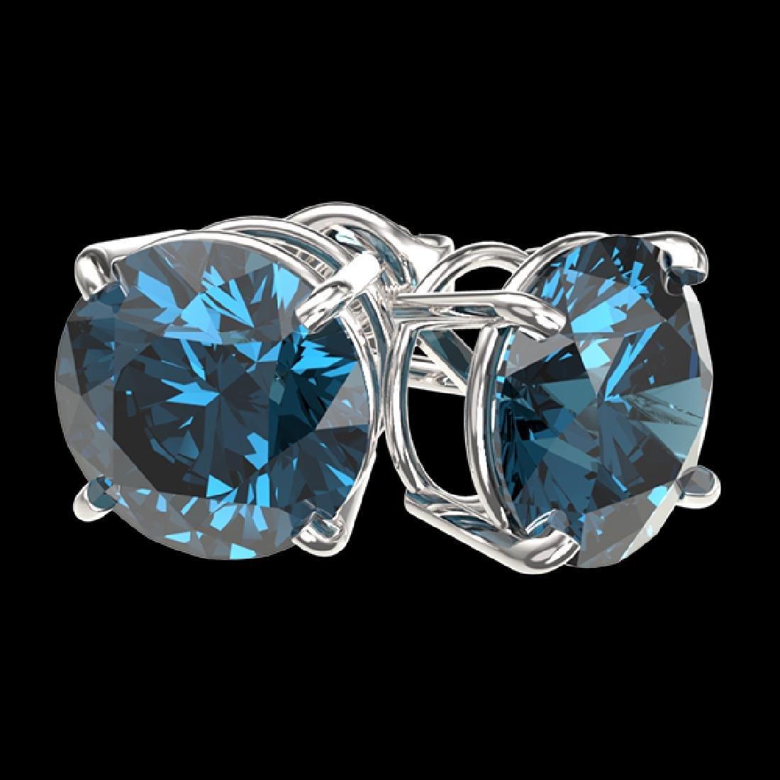 3 CTW Certified Intense Blue SI Diamond Solitaire Stud - 3