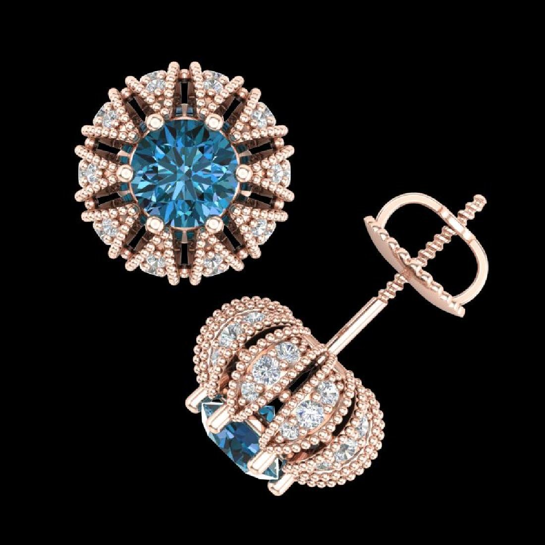 2.01 CTW Fancy Intense Blue Diamond Art Deco Stud - 3